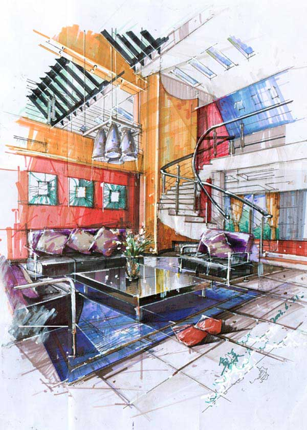 彩铅手绘室内效果图_室内设计效果图手绘教程_手绘室内效果图马克笔