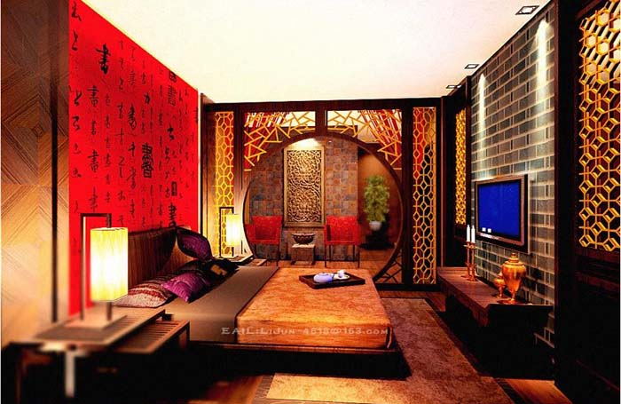 中式风格装修效果图欣赏-家装设计-环艺设计-第一视觉